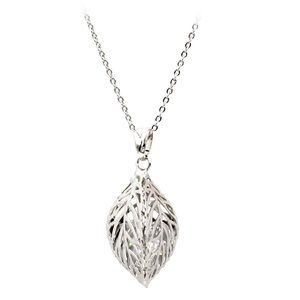 Silver lady foliage crystal necklace